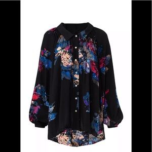 Free People long sleeve button down flowey tunic
